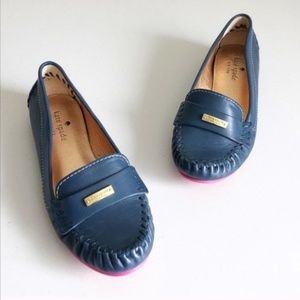 Kate Spade Weekend Navy & Pink Leather Loafers 5.5